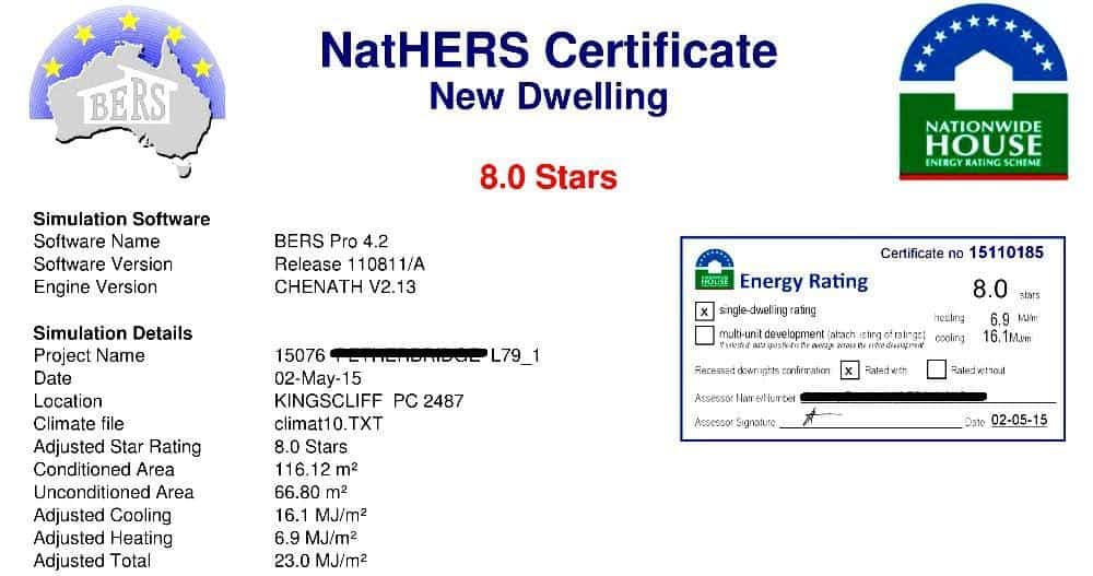 NatHERS Certificate Example